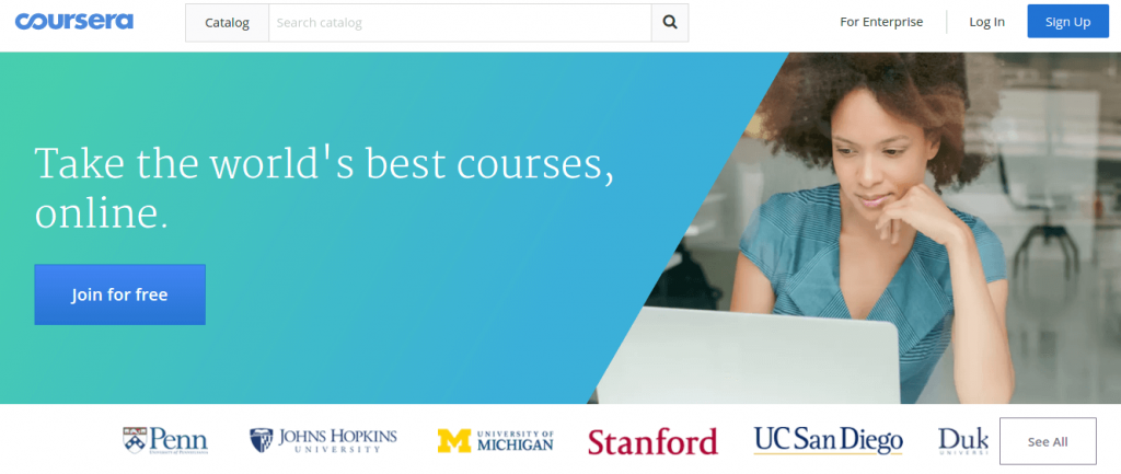 Coursera e-learning video on demand platform