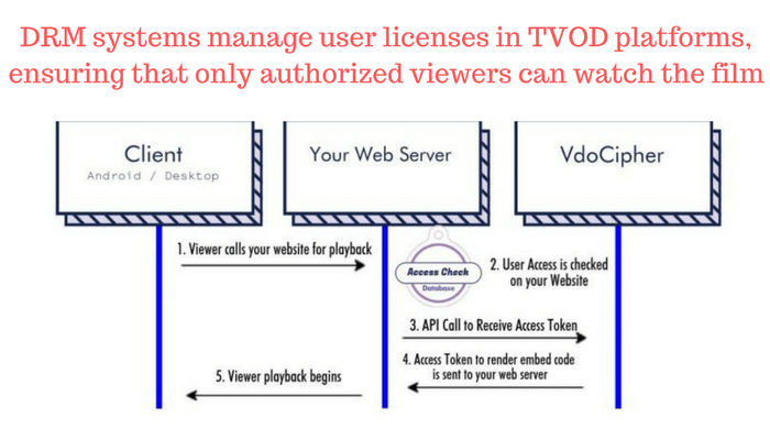 DRM systems manage user licenses in TVOD platforms, ensuring only authorized viewers watch the video