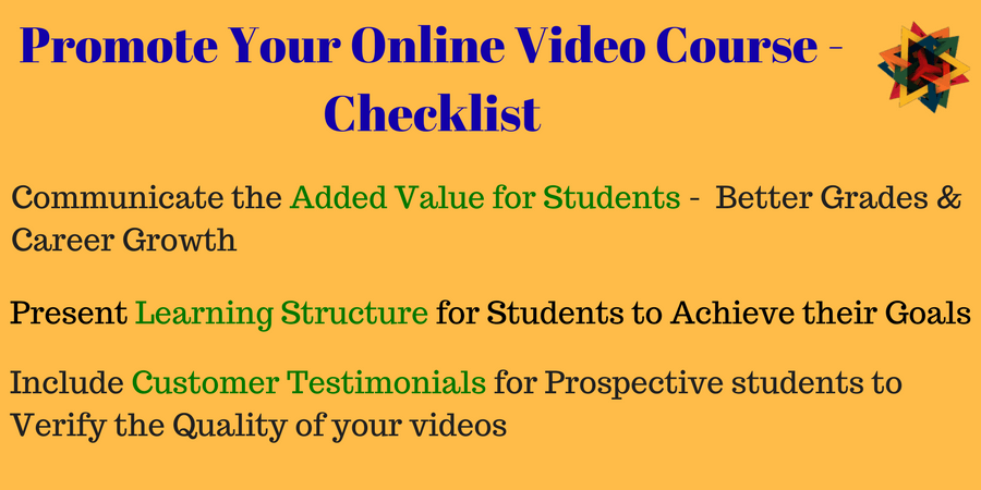 Checklist for promoting online video course on TVOD model