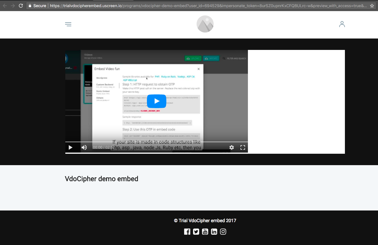 Uscreen prevent video piracy by secure streaming Step 2