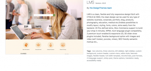 LMS theme wordpress dashboard