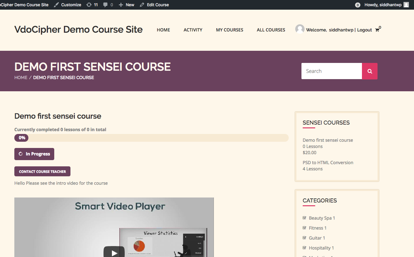 Sensei LMS wordpress student