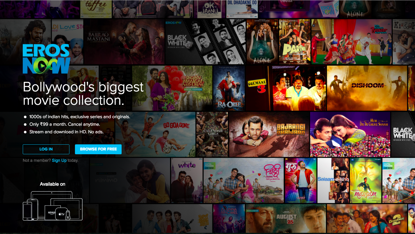 Erosnow vod app for india