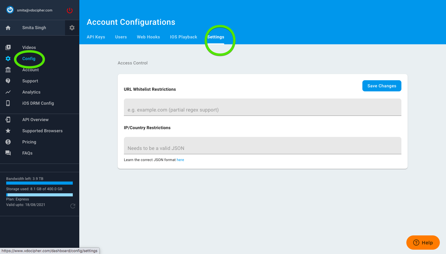 Configuration settings vdocipher dashboard