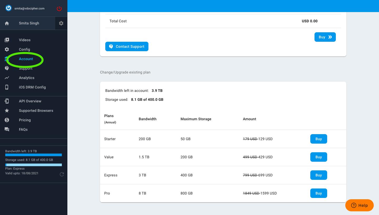 Upgrade plan vdocipher dashboard