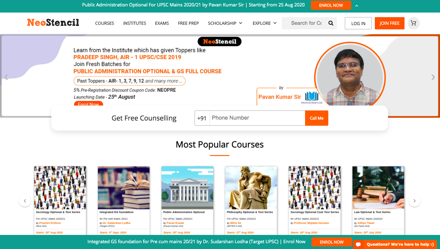 NeoStencil online IAS Coaching