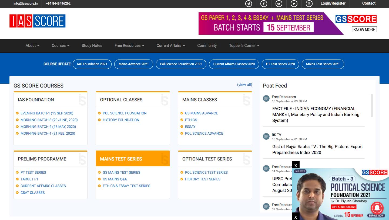IAS Score online IAS Coaching