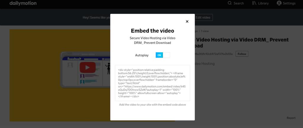 Dailymotion - online video platform embed
