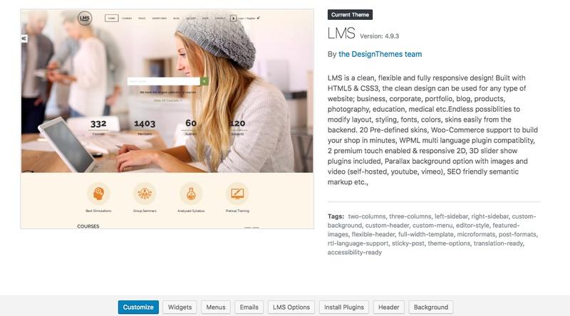 LMS theme wordpress dashboard