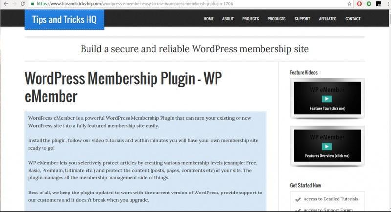 WP eMember plugin - a WordPress Membership Plugin