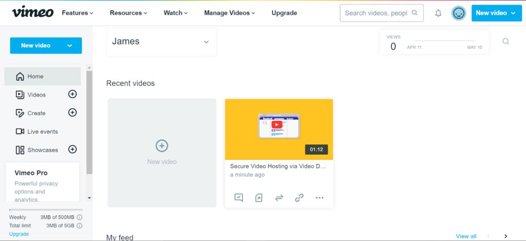 Vimeo - online video platform comparison dashboard