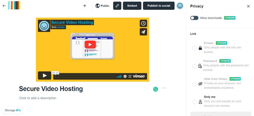 Vimeo - online video platform comparison player