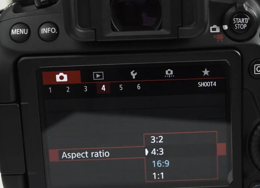 image showing how to change aspect ratio in DSLR camera