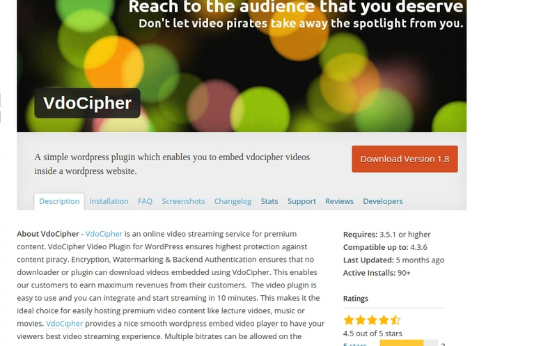 Use VdoCipher WordPress Video Plugin for Secure video streaming