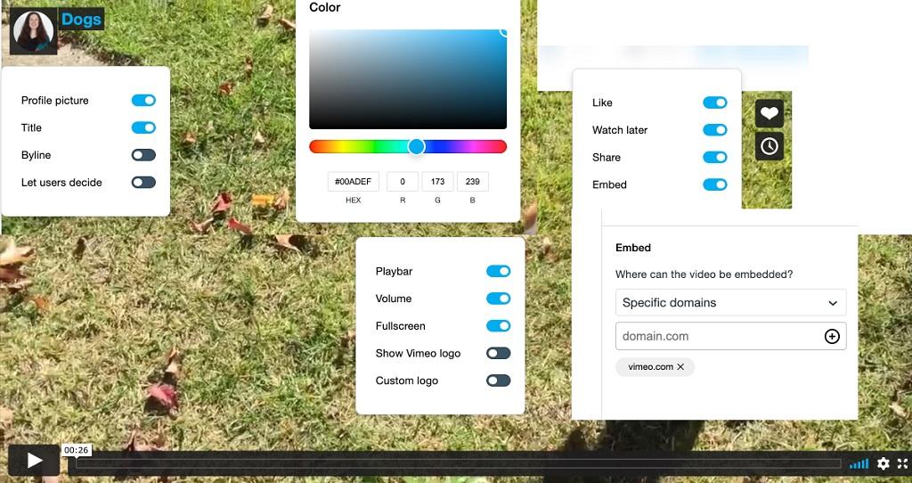 vimeo player customization from dashboard