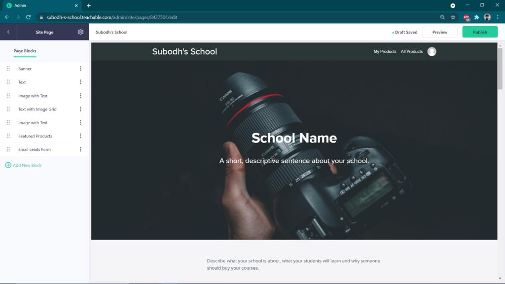 Teachable Website & Page Builder